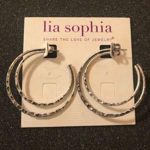 Lia Sophia Silver Hammered Metal Hoop Earrings